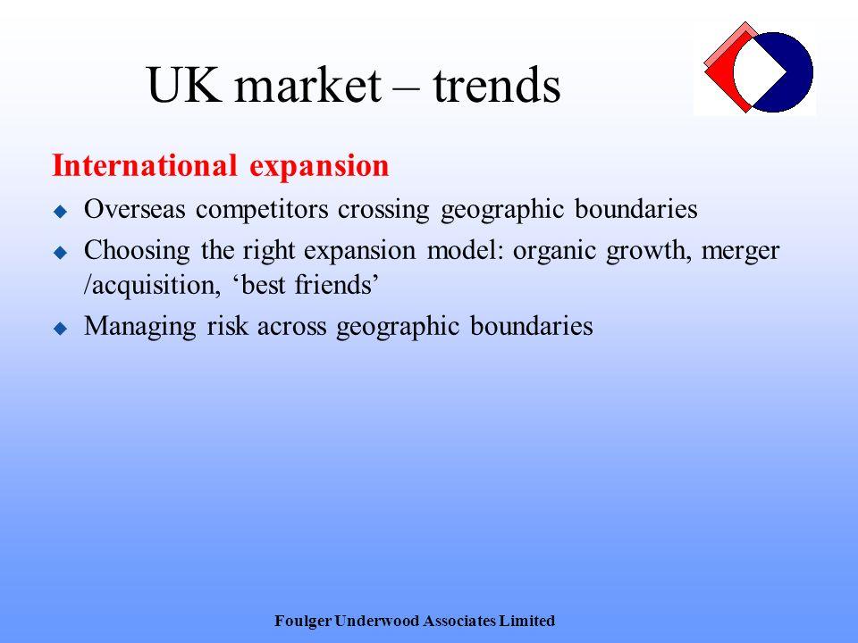 UK market – trends International expansion Overseas competitors crossing geographic boundaries Choosing the right expansion model: organic growth, merger /acquisition, best friends Managing risk across geographic boundaries Foulger Underwood Associates Limited