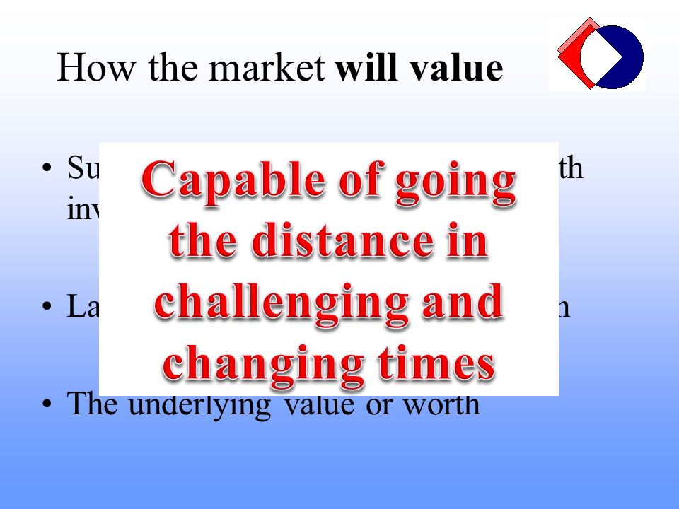 Sustainable earnings – consistent with investment Lack of baggage and clarity of vision The underlying value or worth How the market will value