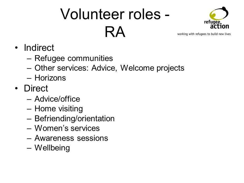 Volunteer roles - RA Indirect –Refugee communities –Other services: Advice, Welcome projects –Horizons Direct –Advice/office –Home visiting –Befriending/orientation –Womens services –Awareness sessions –Wellbeing
