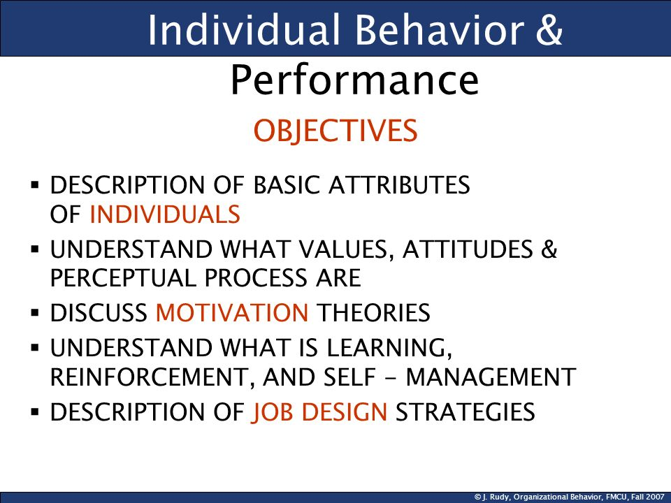 © J. Rudy, Organizational Behavior, FMCU, Fall 2007 Individual Behavior & Performance OBJECTIVES DESCRIPTION OF BASIC ATTRIBUTES OF INDIVIDUALS UNDERS
