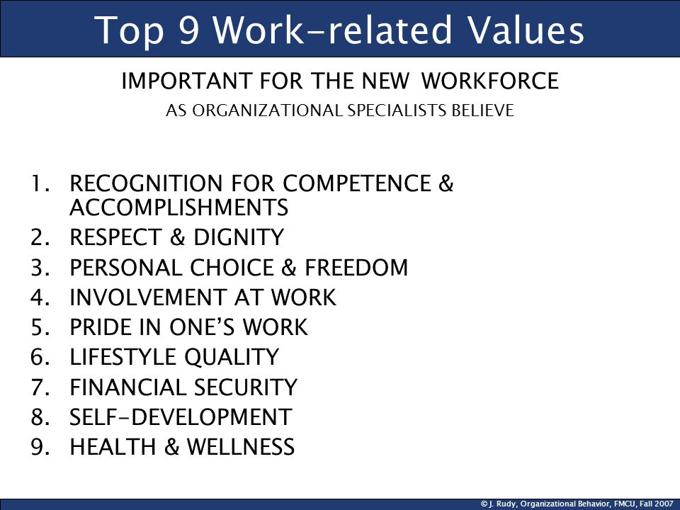 © J. Rudy, Organizational Behavior, FMCU, Fall 2007 Top 9 Work-related Values IMPORTANT FOR THE NEW WORKFORCE AS ORGANIZATIONAL SPECIALISTS BELIEVE 1.