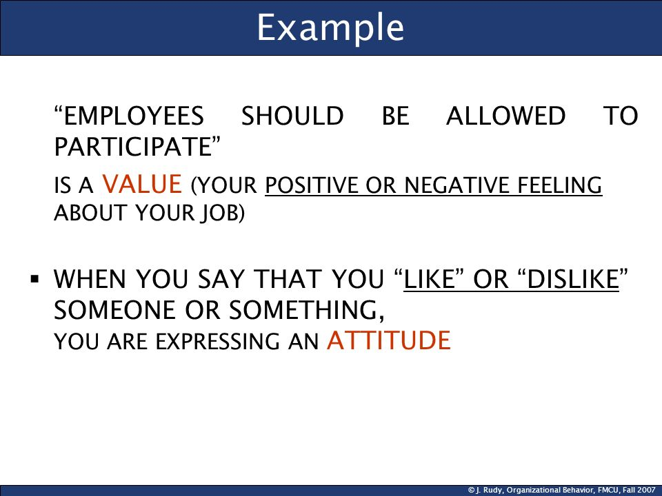 © J. Rudy, Organizational Behavior, FMCU, Fall 2007 Example EMPLOYEES SHOULD BE ALLOWED TO PARTICIPATE IS A VALUE (YOUR POSITIVE OR NEGATIVE FEELING A
