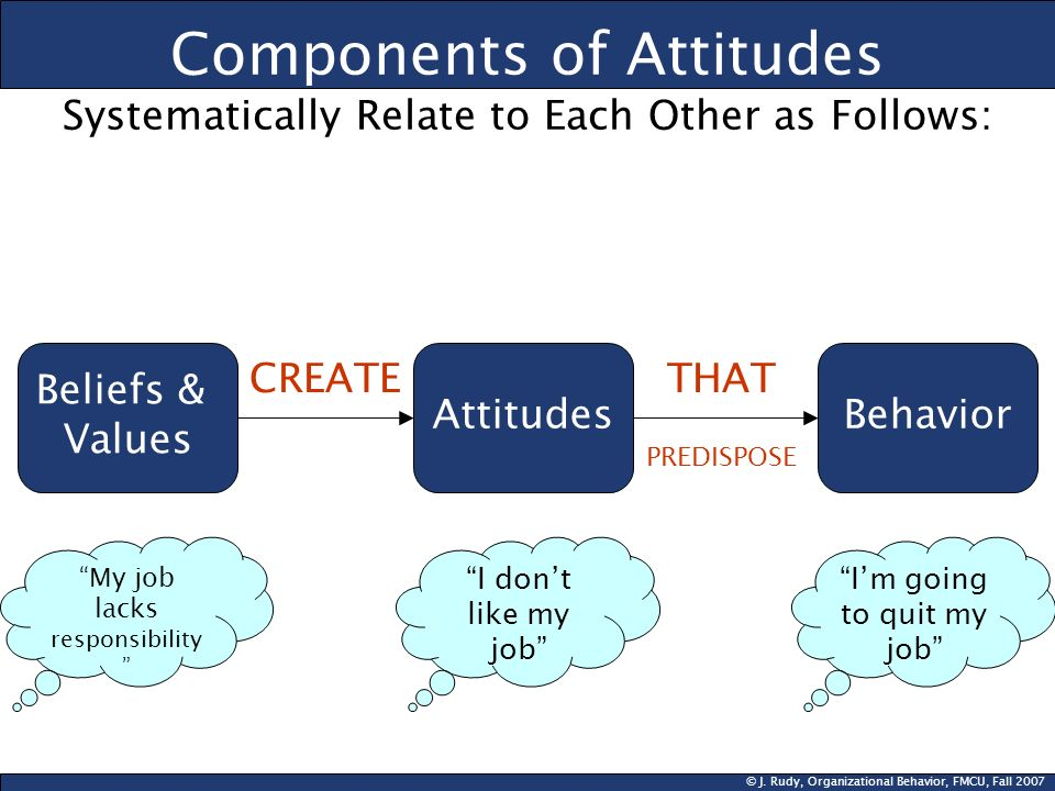 © J. Rudy, Organizational Behavior, FMCU, Fall 2007 Components of Attitudes Systematically Relate to Each Other as Follows: Beliefs & Values Attitudes