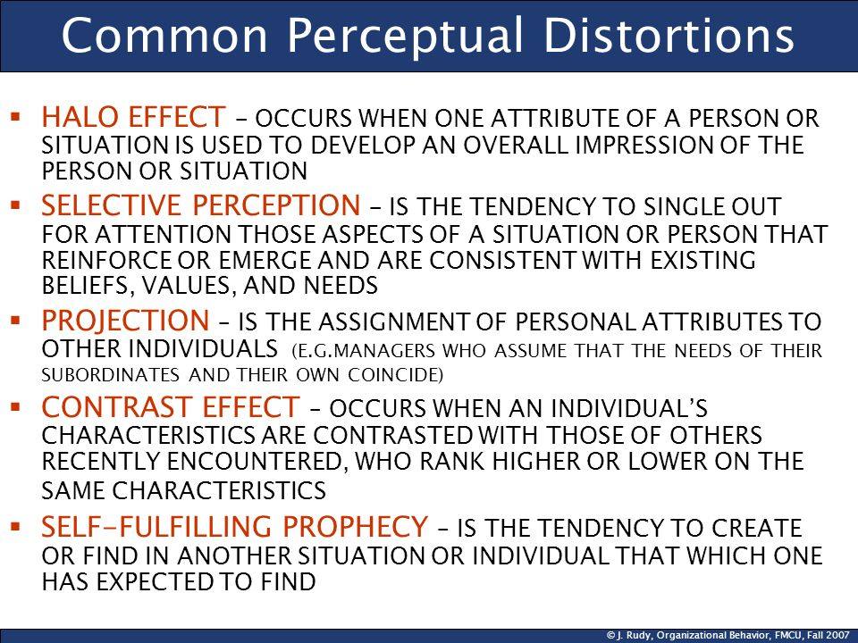 © J. Rudy, Organizational Behavior, FMCU, Fall 2007 Common Perceptual Distortions HALO EFFECT – OCCURS WHEN ONE ATTRIBUTE OF A PERSON OR SITUATION IS