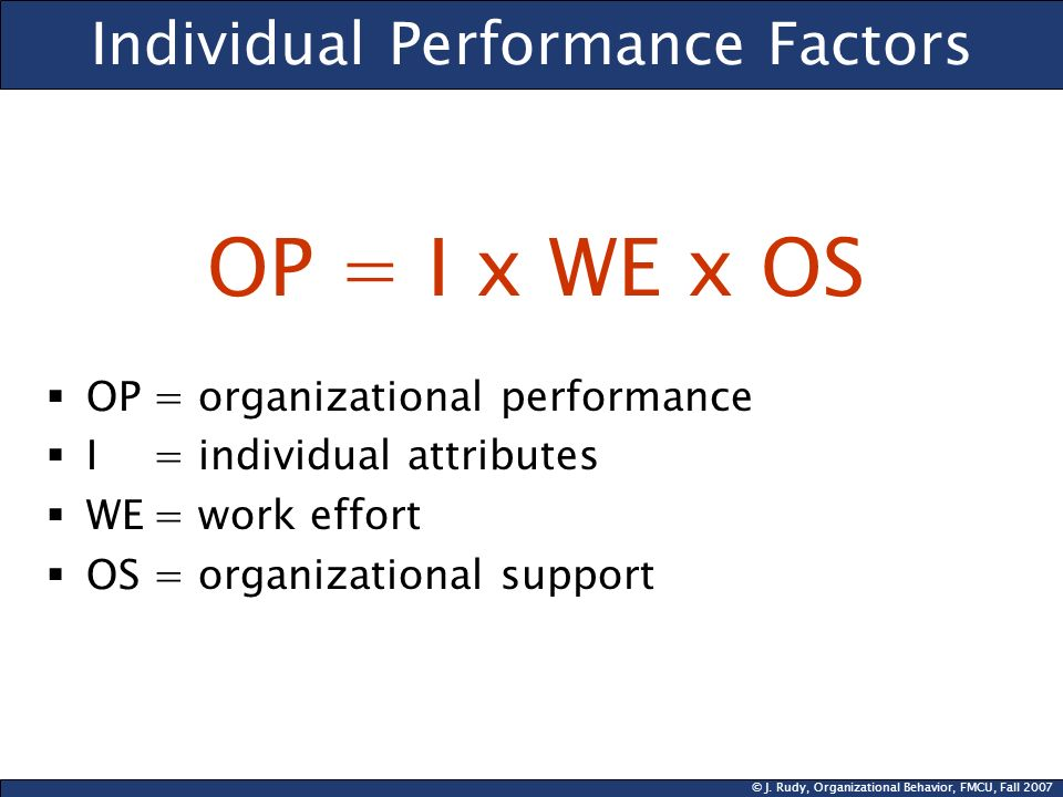 © J. Rudy, Organizational Behavior, FMCU, Fall 2007 Individual Performance Factors OP = I x WE x OS OP= organizational performance I= individual attri