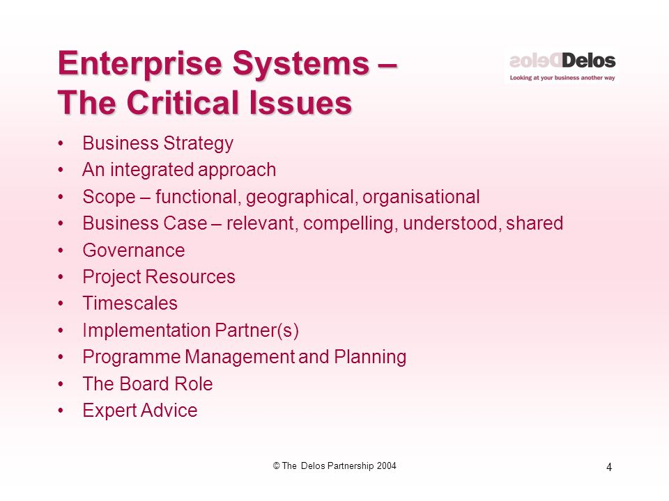 4 © The Delos Partnership 2004 Enterprise Systems – The Critical Issues Business Strategy An integrated approach Scope – functional, geographical, organisational Business Case – relevant, compelling, understood, shared Governance Project Resources Timescales Implementation Partner(s) Programme Management and Planning The Board Role Expert Advice