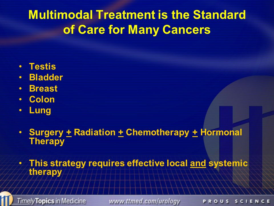 Multimodal Treatment is the Standard of Care for Many Cancers Testis Bladder Breast Colon Lung Surgery + Radiation + Chemotherapy + Hormonal Therapy T