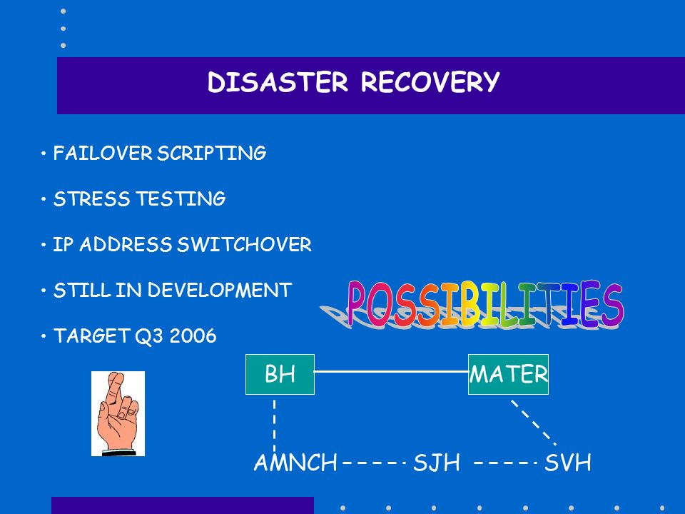 DISASTER RECOVERY FAILOVER SCRIPTING STRESS TESTING IP ADDRESS SWITCHOVER STILL IN DEVELOPMENT TARGET Q3 2006 BHMATER AMNCHSJHSVH