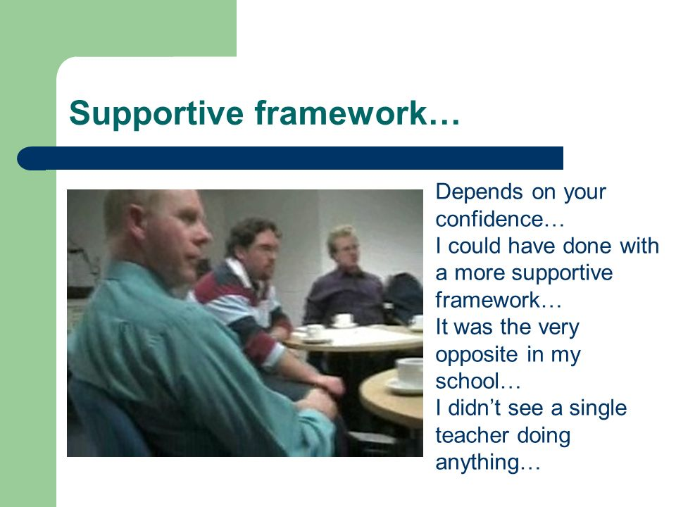 Supportive framework… Depends on your confidence… I could have done with a more supportive framework… It was the very opposite in my school… I didnt see a single teacher doing anything…