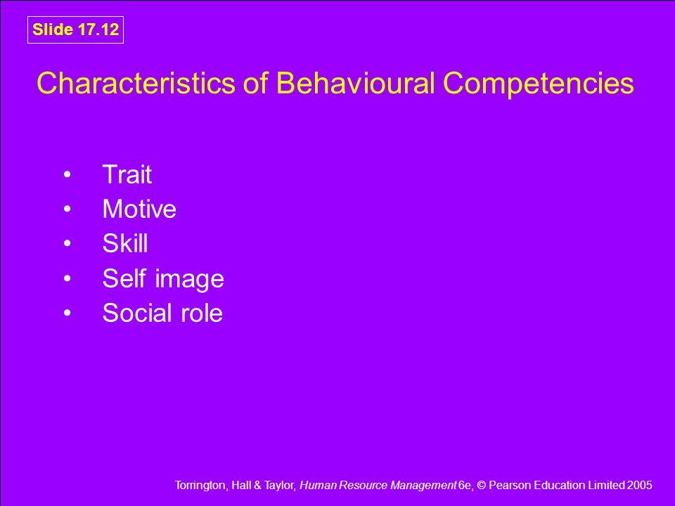 Torrington, Hall & Taylor, Human Resource Management 6e, © Pearson Education Limited 2005 Slide 17.12 Characteristics of Behavioural Competencies Trai
