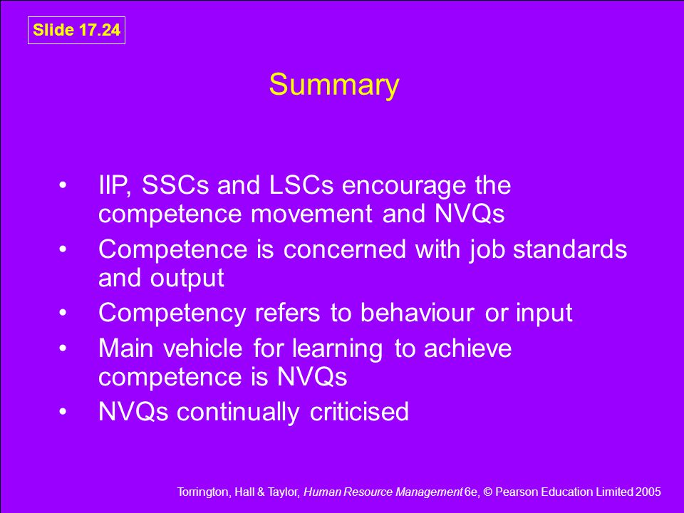Torrington, Hall & Taylor, Human Resource Management 6e, © Pearson Education Limited 2005 Slide 17.24 Summary IIP, SSCs and LSCs encourage the compete