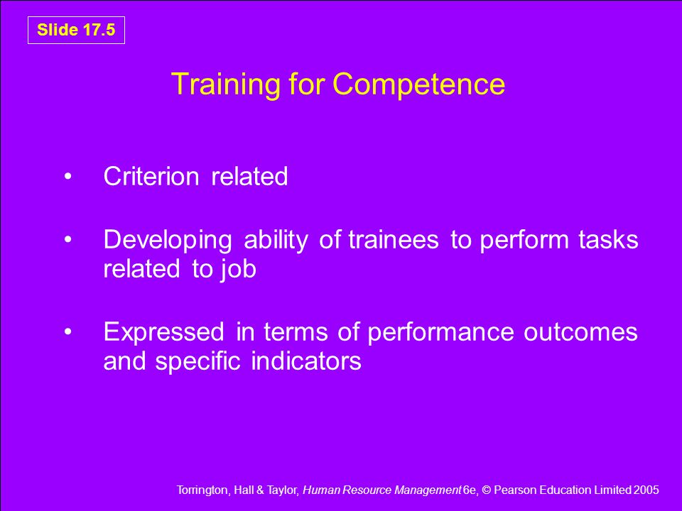 Torrington, Hall & Taylor, Human Resource Management 6e, © Pearson Education Limited 2005 Slide 17.5 Training for Competence Criterion related Develop