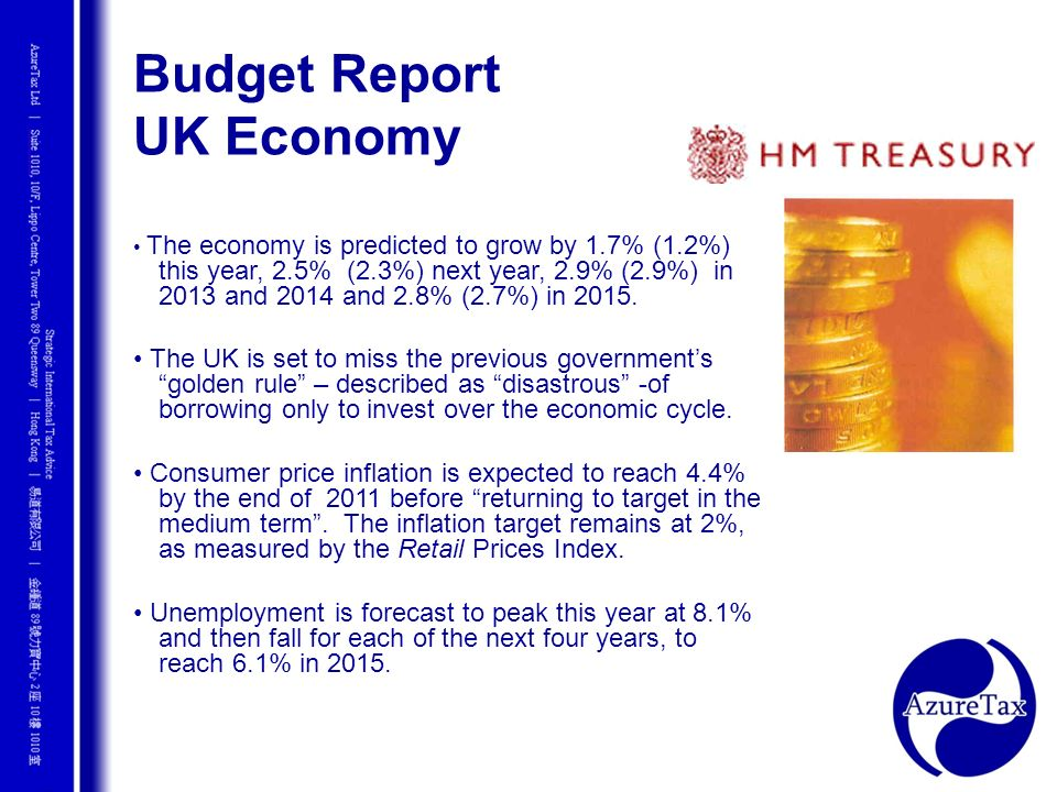 Budget Report UK Economy The economy is predicted to grow by 1.7% (1.2%) this year, 2.5% (2.3%) next year, 2.9% (2.9%) in 2013 and 2014 and 2.8% (2.7%