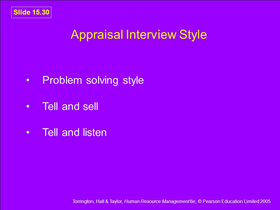Torrington, Hall & Taylor, Human Resource Management 6e, © Pearson Education Limited 2005 Slide 15.30 Appraisal Interview Style Problem solving style