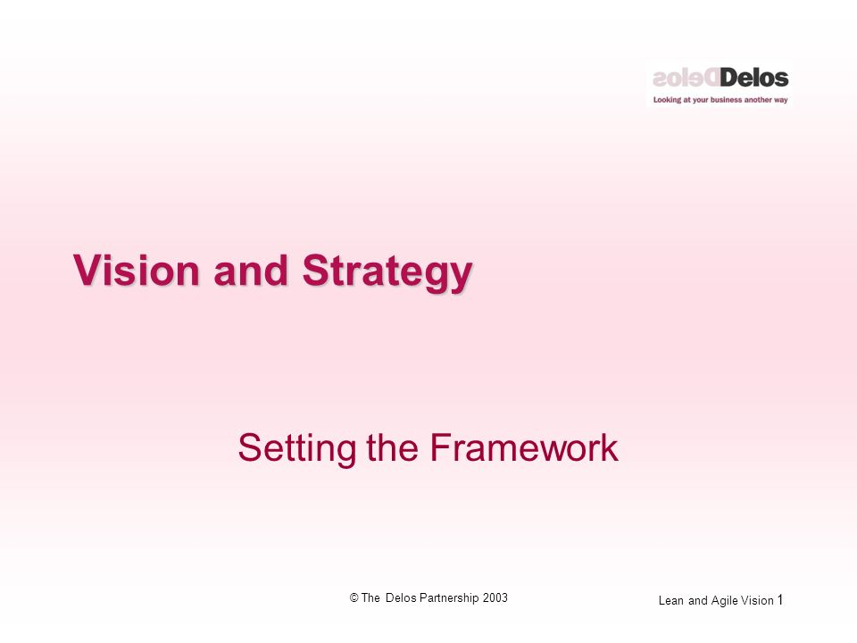 Lean and Agile Vision 2 © The Delos Partnership 2003 The Delos Model Vision Strategy Prioritisation Prioritisation Innovation Innovation Demand Support Supply Supply