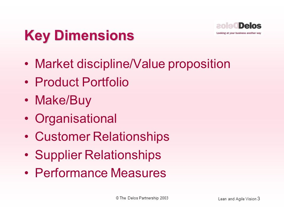 Lean and Agile Vision 4 © The Delos Partnership 2003 Value Proposition StrategyNowFuture Operational Excellence Customer Solutions Product Leadership Total = 100 %