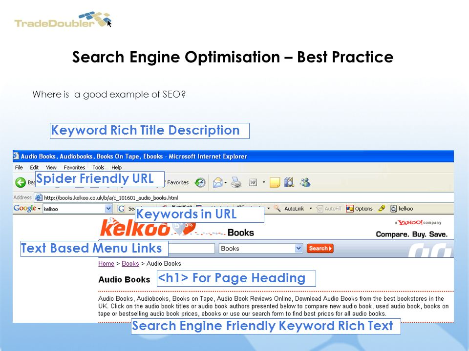 Search Engine Optimisation – Best Practice Keyword Rich Title Description Spider Friendly URL Keywords in URL For Page Heading Search Engine Friendly Keyword Rich Text Text Based Menu Links Where is a good example of SEO