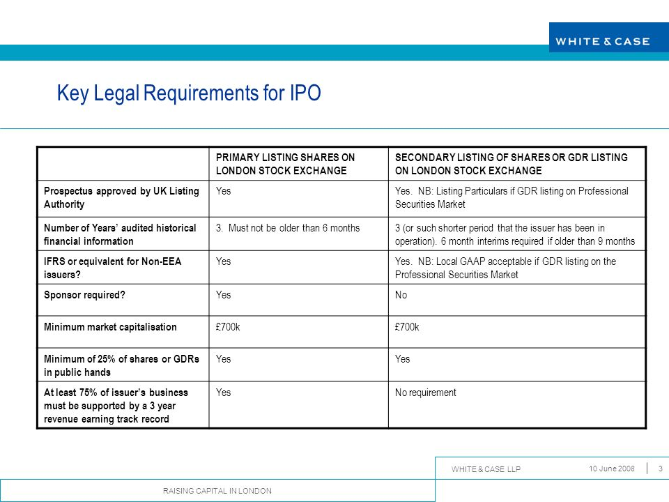 WHITE & CASE LLP RAISING CAPITAL IN LONDON 10 June 20083 Key Legal Requirements for IPO PRIMARY LISTING SHARES ON LONDON STOCK EXCHANGE SECONDARY LIST