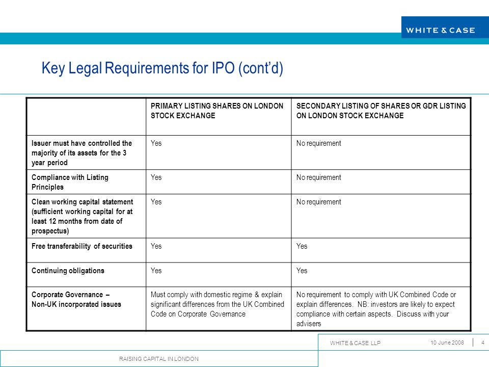 WHITE & CASE LLP RAISING CAPITAL IN LONDON 10 June 20084 Key Legal Requirements for IPO (contd) PRIMARY LISTING SHARES ON LONDON STOCK EXCHANGE SECOND