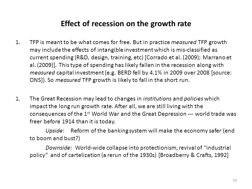 Effect of recession on the growth rate 1.TFP is meant to be what comes for free.