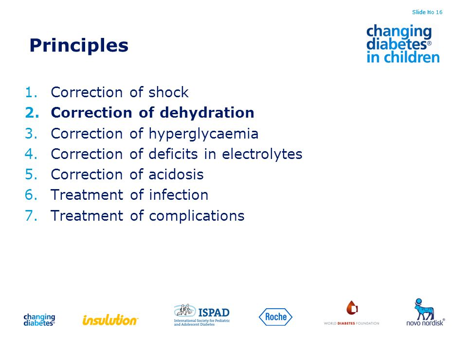 Slide No 16 Principles 1.Correction of shock 2.Correction of dehydration 3.Correction of hyperglycaemia 4.Correction of deficits in electrolytes 5.Cor