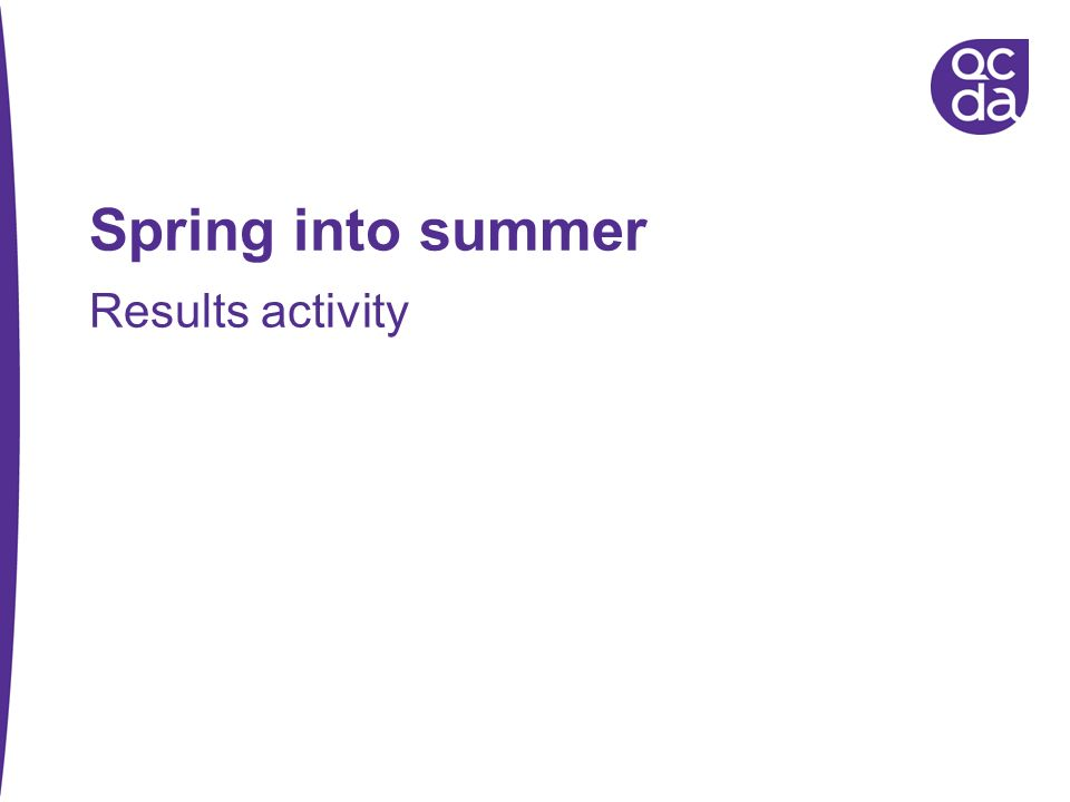 Spring into summer Results activity