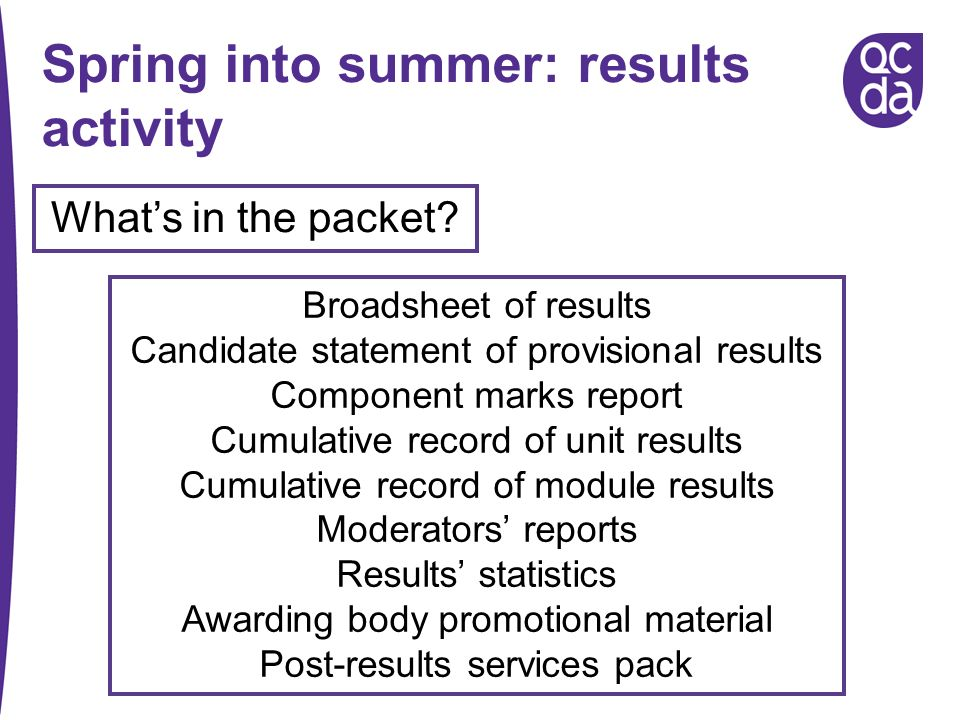 Spring into summer: results activity Whats in the packet? Broadsheet of results Candidate statement of provisional results Component marks report Cumu