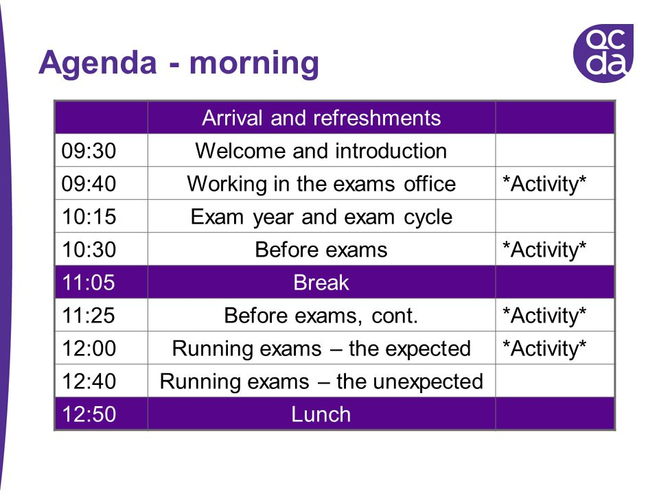 Agenda - morning Arrival and refreshments 09:30Welcome and introduction 09:40Working in the exams office*Activity* 10:15Exam year and exam cycle 10:30
