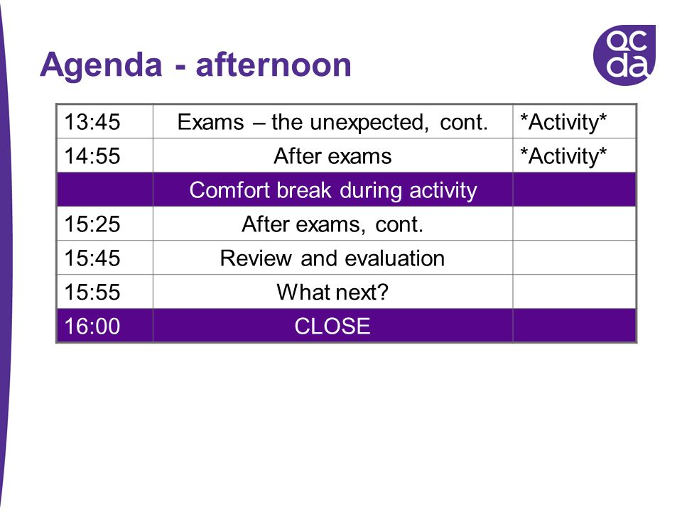 Agenda - afternoon 13:45Exams – the unexpected, cont.*Activity* 14:55After exams*Activity* Comfort break during activity 15:25After exams, cont. 15:45