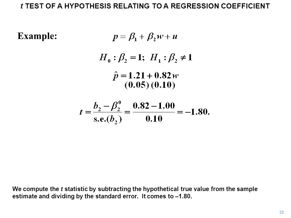 t TEST OF A HYPOTHESIS RELATING TO A REGRESSION COEFFICIENT 33 Example: We compute the t statistic by subtracting the hypothetical true value from the
