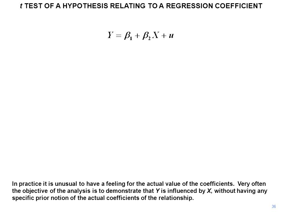 t TEST OF A HYPOTHESIS RELATING TO A REGRESSION COEFFICIENT 36 In practice it is unusual to have a feeling for the actual value of the coefficients. V