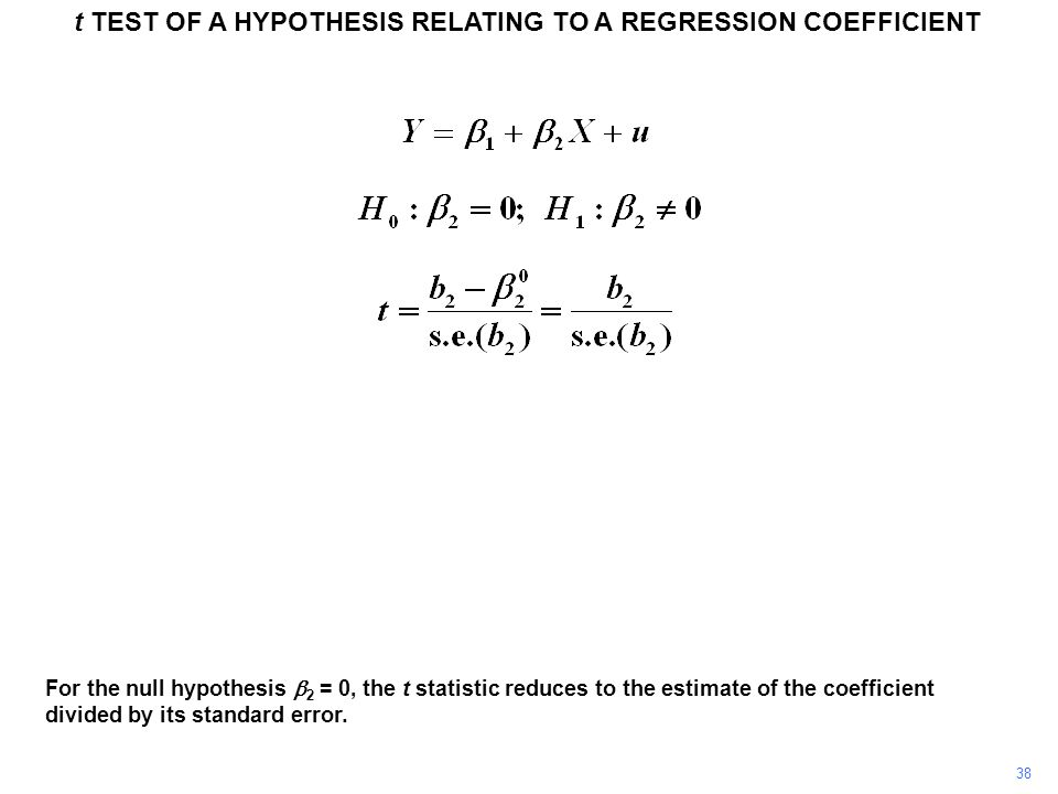t TEST OF A HYPOTHESIS RELATING TO A REGRESSION COEFFICIENT 38 For the null hypothesis 2 = 0, the t statistic reduces to the estimate of the coefficie