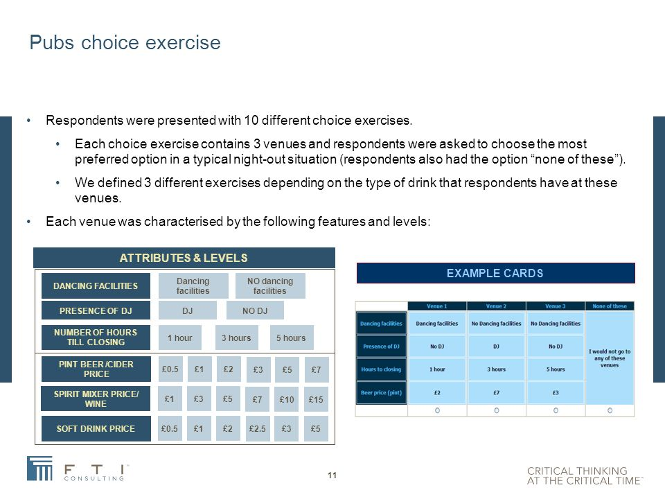 Nightclubs choice exercise Respondents were presented with 10 different choice exercises.