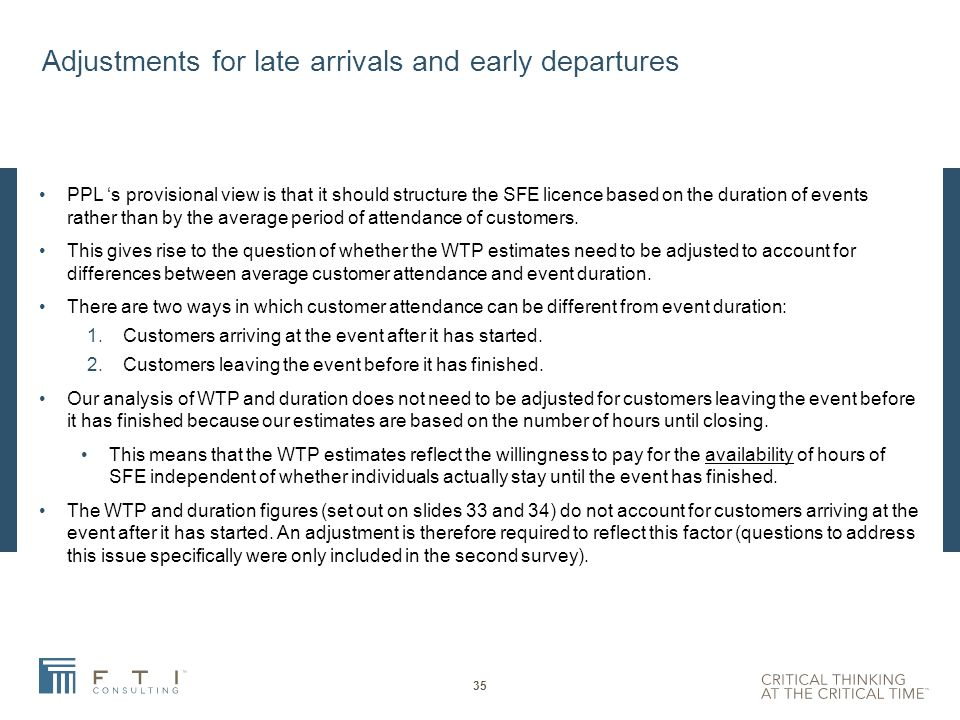 Contents Introduction Overview and approach Focus groups and Survey design Survey implementation Estimation results Duration issues Adjustments for late arrivals and early departures 34