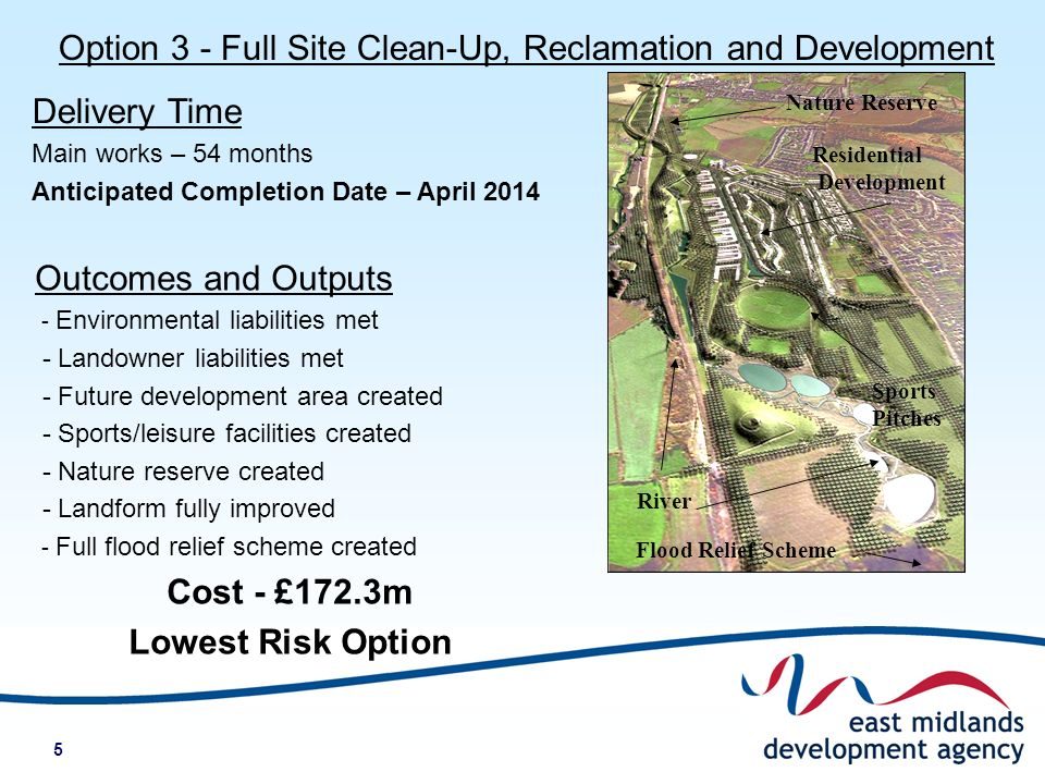 5 River Flood Relief Scheme Nature Reserve Residential Development Sports Pitches Option 3 - Full Site Clean-Up, Reclamation and Development Delivery Time Main works – 54 months Anticipated Completion Date – April 2014 Outcomes and Outputs - Environmental liabilities met - Landowner liabilities met - Future development area created - Sports/leisure facilities created - Nature reserve created - Landform fully improved - Full flood relief scheme created Cost - £172.3m Lowest Risk Option