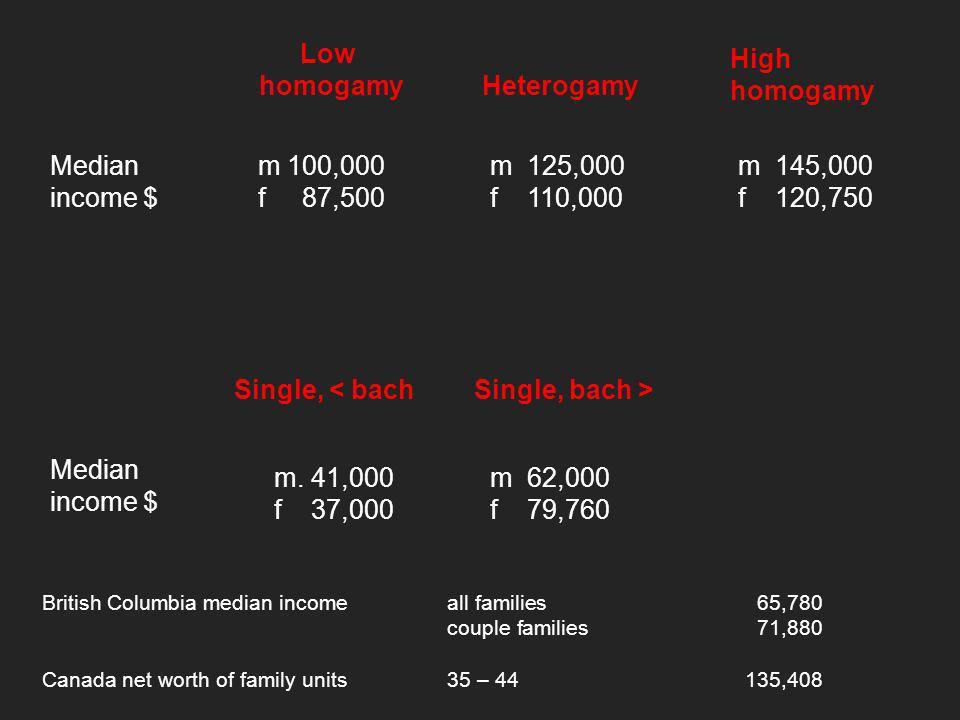 Low homogamy Heterogamy High homogamy m 100,000 f 87,500 m 125,000 f 110,000 m 145,000 f 120,750 Median income $ Single, < bachSingle, bach > m.