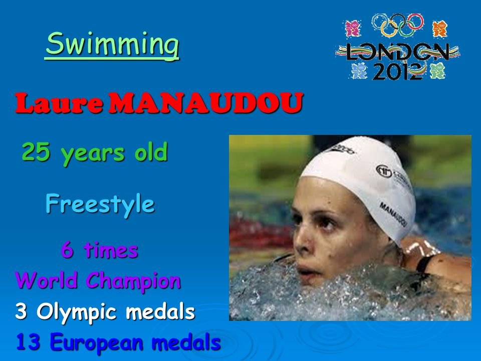 Swimming Laure MANAUDOU 25 years old 25 years old Freestyle Freestyle 6 times 6 times World Champion 3 Olympic medals 13 European medals