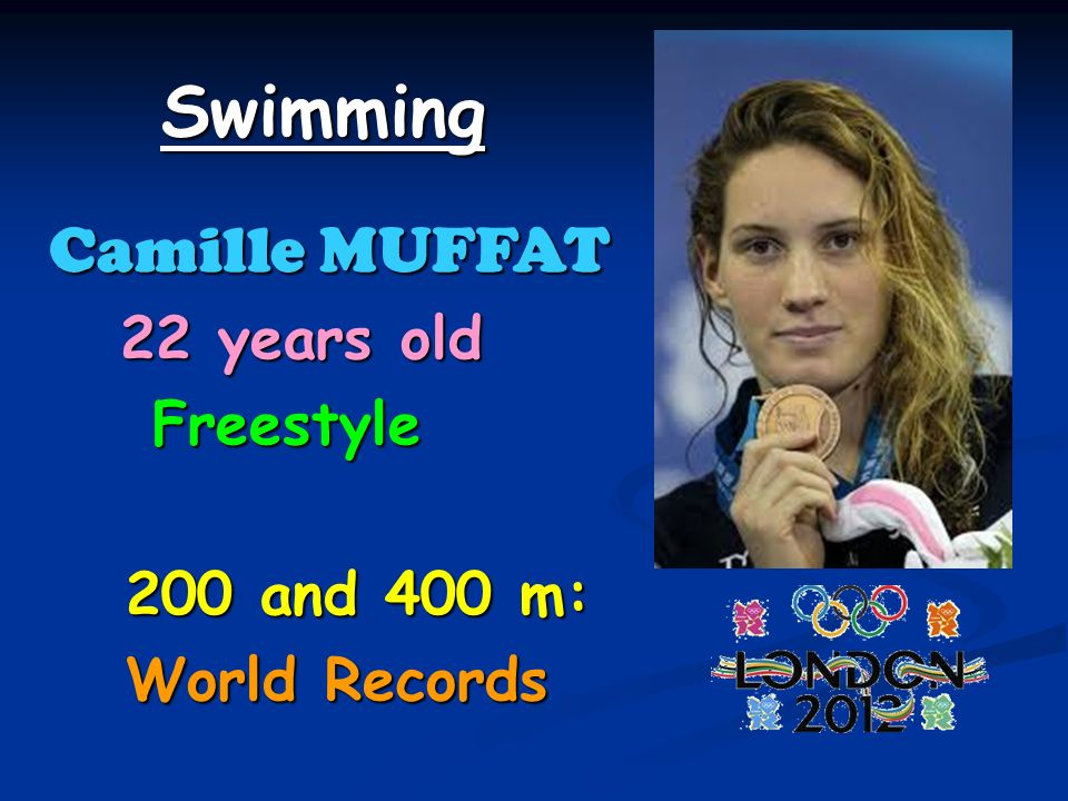 Swimming Camille MUFFAT 22 years old 22 years old Freestyle Freestyle 200 and 400 m: 200 and 400 m: World Records World Records