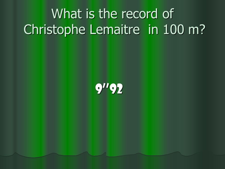 What is the record of Christophe Lemaitre in 100 m? 992