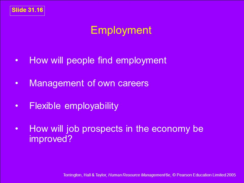 Torrington, Hall & Taylor, Human Resource Management 6e, © Pearson Education Limited 2005 Slide 31.16 Employment How will people find employment Manag