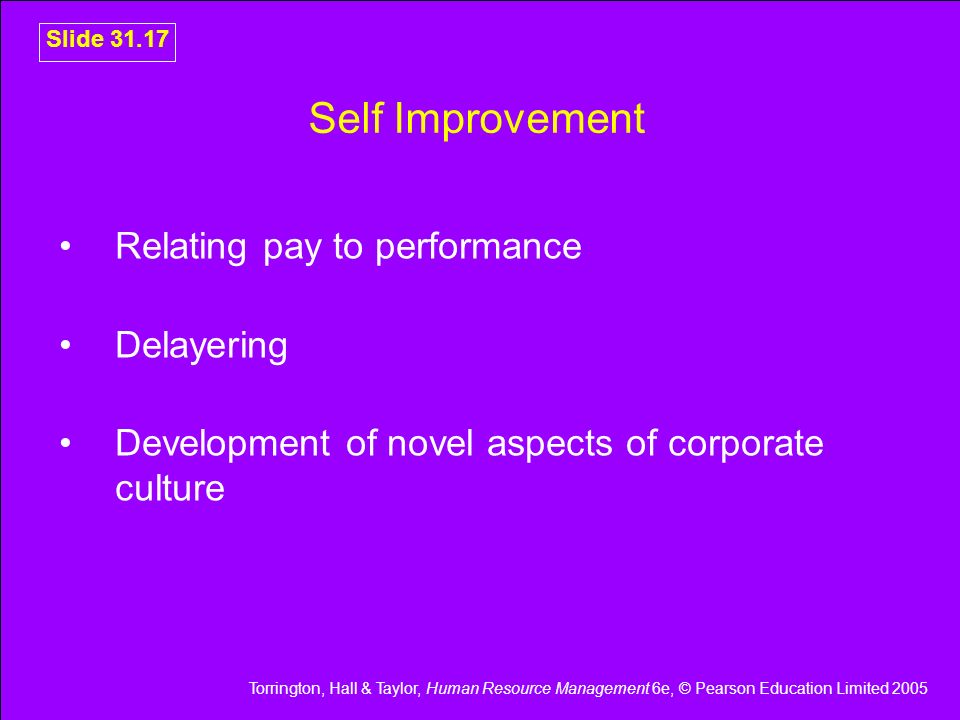 Torrington, Hall & Taylor, Human Resource Management 6e, © Pearson Education Limited 2005 Slide 31.17 Self Improvement Relating pay to performance Del