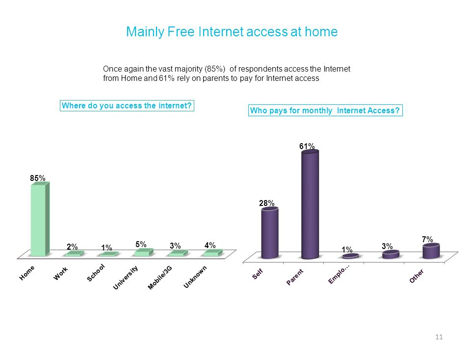 Mainly Free Internet access at home Once again the vast majority (85%) of respondents access the Internet from Home and 61% rely on parents to pay for