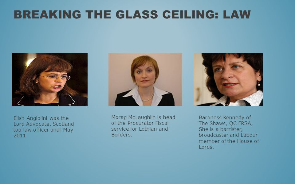BREAKING THE GLASS CEILING: LAW Elish Angiolini was the Lord Advocate, Scotland top law officer until May 2011 Morag McLaughlin is head of the Procura