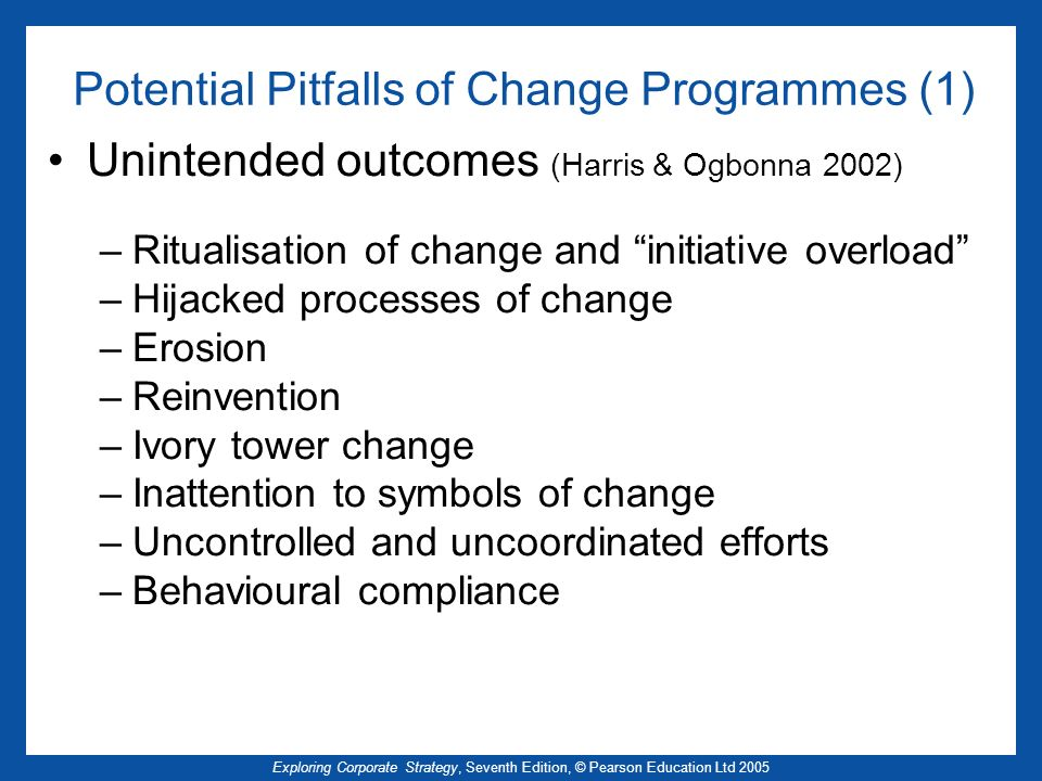 Exploring Corporate Strategy, Seventh Edition, © Pearson Education Ltd 2005 Potential Pitfalls of Change Programmes (1) Unintended outcomes (Harris &