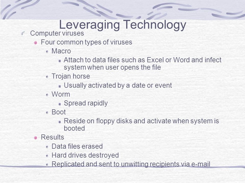 Leveraging Technology Computer viruses Four common types of viruses Macro Attach to data files such as Excel or Word and infect system when user opens the file Trojan horse Usually activated by a date or event Worm Spread rapidly Boot Reside on floppy disks and activate when system is booted Results Data files erased Hard drives destroyed Replicated and sent to unwitting recipients via