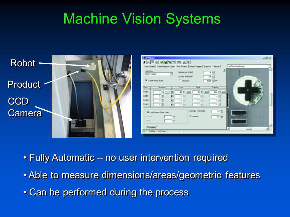 Machine Vision Systems CCD Camera CCD Camera Robot Product Fully Automatic – no user intervention required Able to measure dimensions/areas/geometric