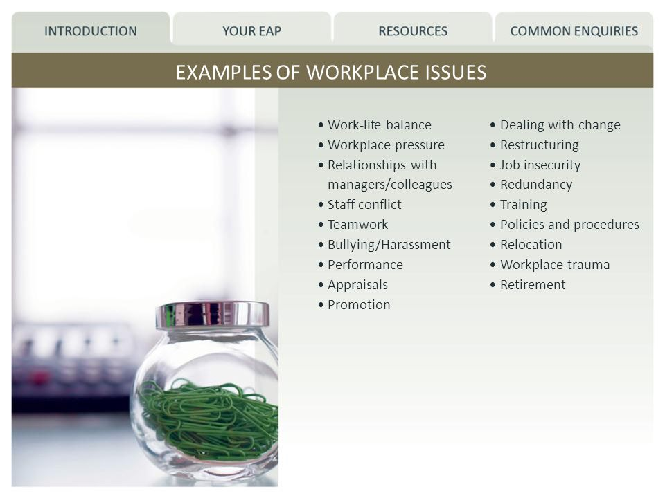 EXAMPLES OF WORKPLACE ISSUES Work-life balance Workplace pressure Relationships with managers/colleagues Staff conflict Teamwork Bullying/Harassment Performance Appraisals Promotion Dealing with change Restructuring Job insecurity Redundancy Training Policies and procedures Relocation Workplace trauma Retirement