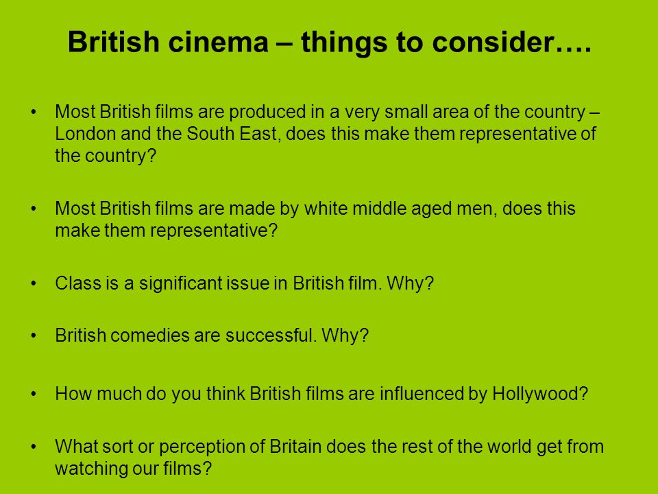 British stereotypes through film Everyone in the UK lives in large terraced house in an affluent part of London.
