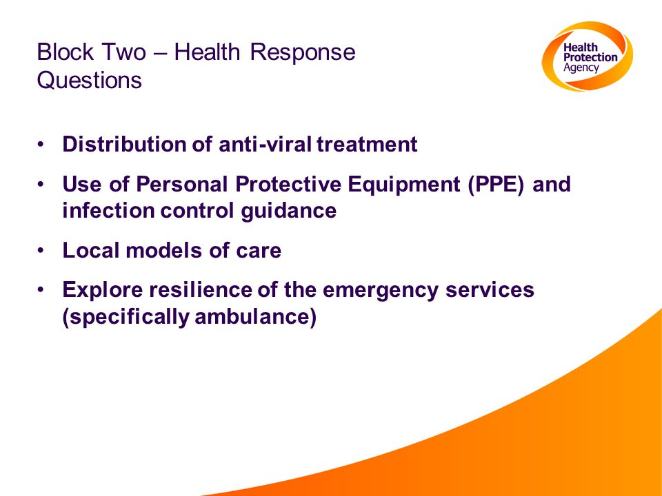 Block Two – Health Response Questions Distribution of anti-viral treatment Use of Personal Protective Equipment (PPE) and infection control guidance Local models of care Explore resilience of the emergency services (specifically ambulance)