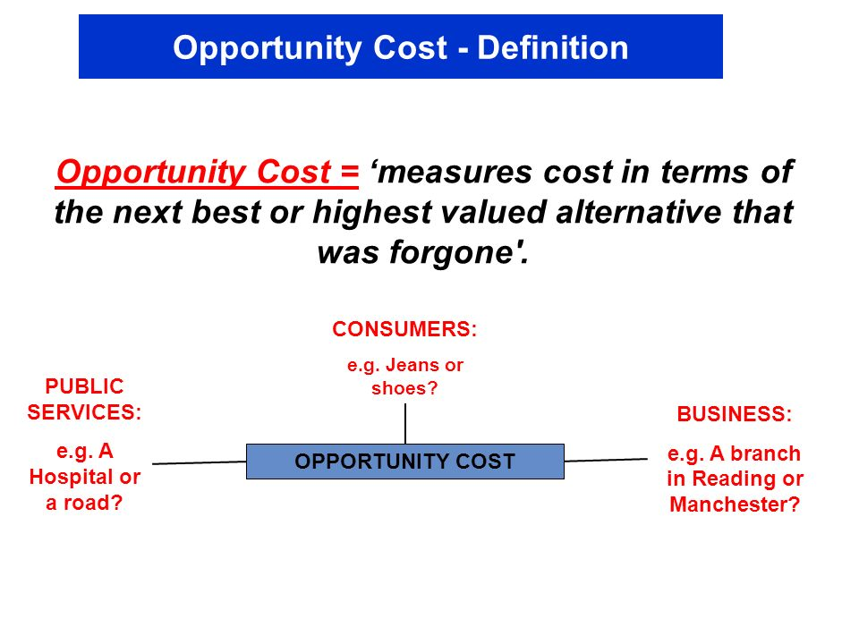 Opportunity Cost - Definition Opportunity Cost = measures cost in terms of the next best or highest valued alternative that was forgone'. OPPORTUNITY